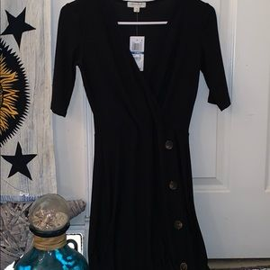 V neck Black dress with brown buttons